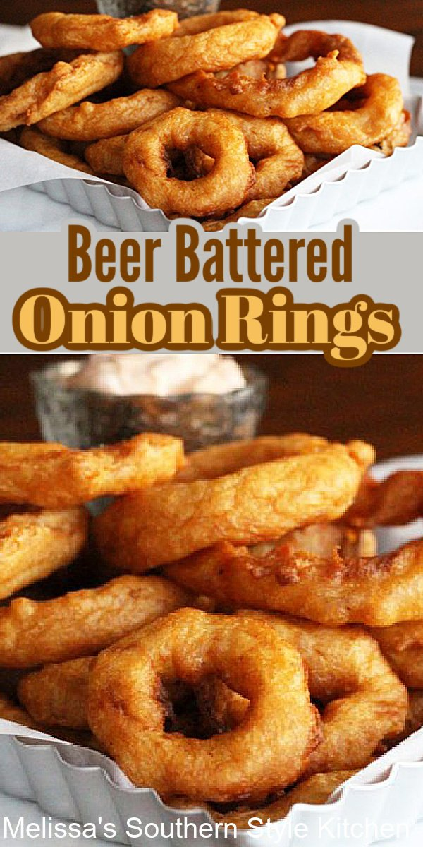 Serve these addictive onion rings as an appetizer, piled high on a burger or a side dish #onionrings #beerbattereonionrings #beer #beerbatter #onions #appetizers #partyfood #footballfood #sidedish #southernfood #southernrecipes