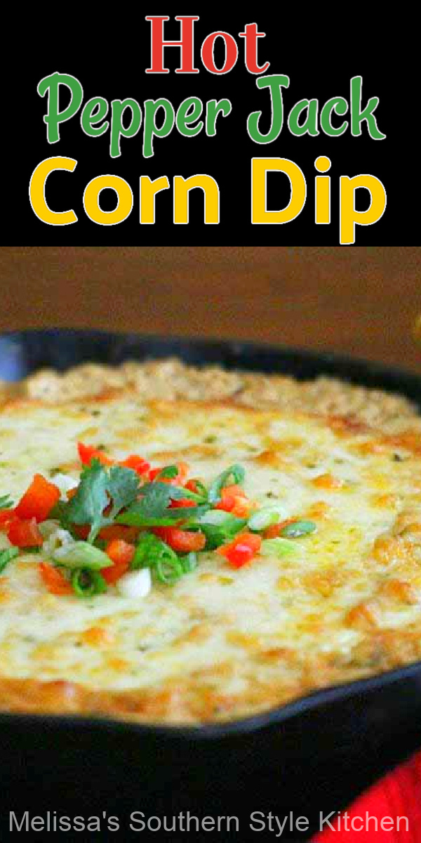 Serve this Hot Pepper Jack Corn Dip with fritos or tortilla chips for dipping #corndip #hotcorndip #pepperjackcheese #cheesedip #appetizers #easydiprecipes