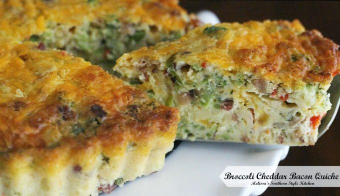 Broccoli Cheddar Bacon Quiche - melissassouthernstylekitchen.com