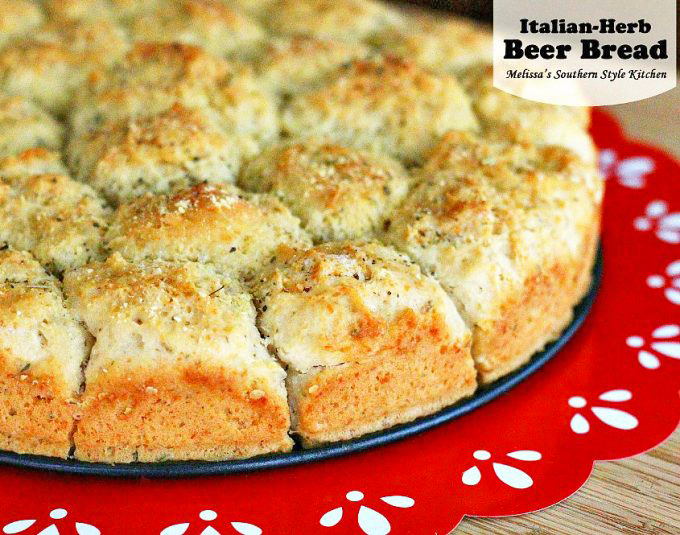 Baked  pull apart Italian Herb Beer Bread on a pan