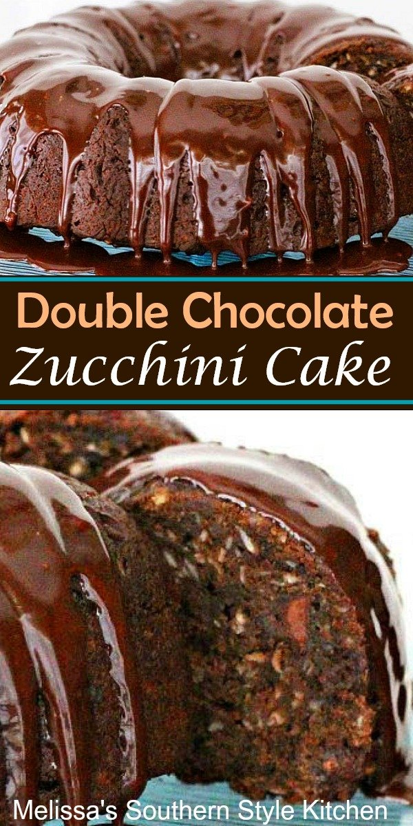 This rich and fudgy Double Chocolate Zucchini Cake will have the family eating their vegetables for dessert #doublechocolatecake #chocolatecake #zucchinicake #zucchinirecipes #chocolate #chocolatedesserts #desserts #dessertfoodrecipes #southernfood #southernrecipes