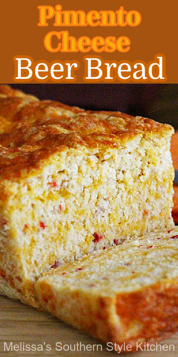 Two favorites collide in this Pimento Cheese Beer Bread #pimentocheese #beerbread #beerbreadrecipes #breadrecipes #soujthernfood #southernrecipes #southernpimentocheese