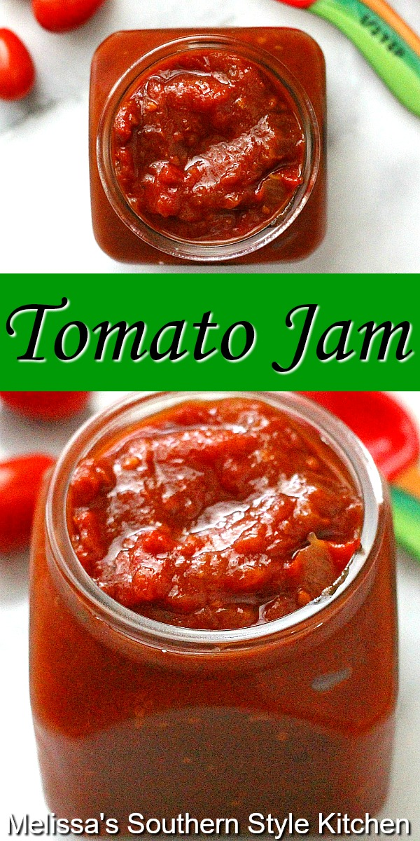 You can enjoy this sweet Tomato Jam on burgers, as a dip with cream cheese slathered on crackers or as a condiment for chicken, pork and seafood.   #tomatoes #tomatojam #jamrecipes #jam #freshromatoes #condiments #summertomatoes #appetizers #southernfood #southernrecipes