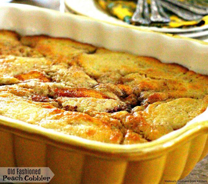 baked 13 x 9 inch peach cobbler