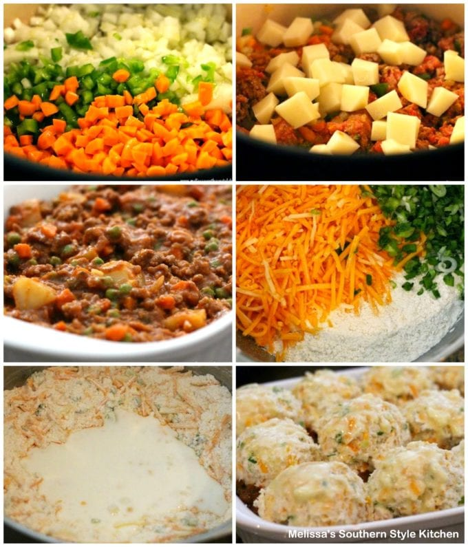 step-by-step images and ingredients for pot pie