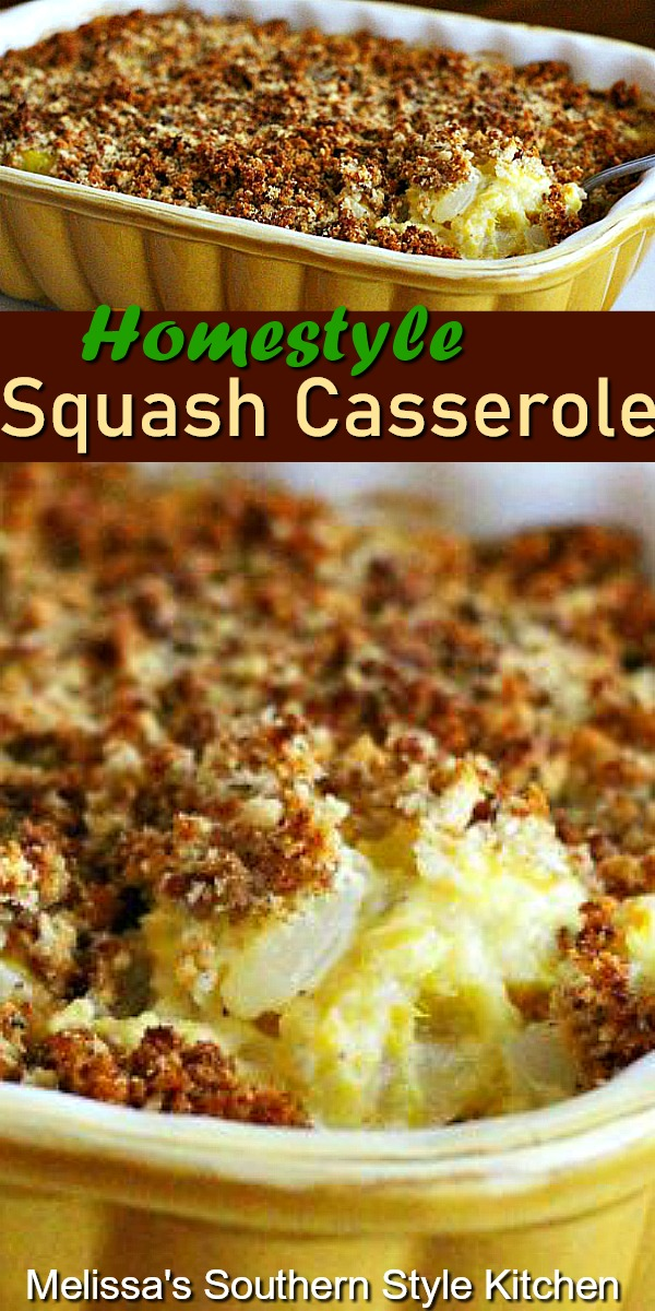 This Homestyle Squash Casserole is the ideal side for any occasion #squash #squashcasserole #summersquash #yellowsquash #casseroles #vegetarian #sidedishrecipes #dinnerideas #dinner #southernfood #southernrecipes