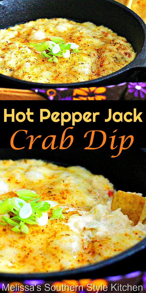 This Hot Pepper Jack Crab Dip is ready to go with pita chips, crackers or crostini for dipping #crabdip #hotcrabdip #bakedcrabdip #pepperjackcheese #appetizers #partyfood #footballfood #holidayrecipes #seafooddip #seafood #jumbolumpcrab #tailgating #southernfood #southernrecipes