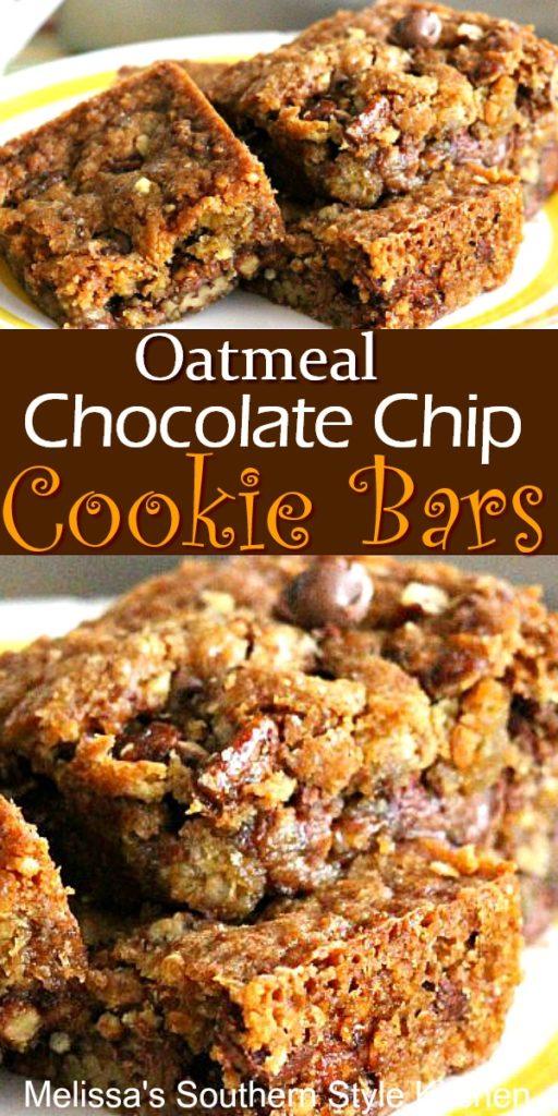 Oatmeal Chocolate Chip-Pecan Cookie Bars