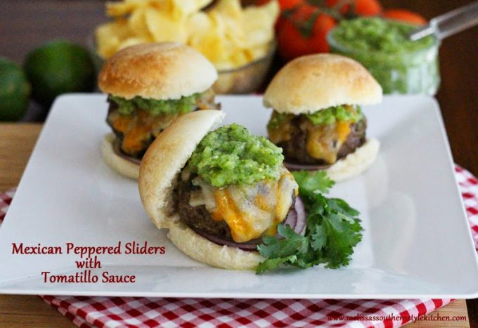 Mexican Peppered Sliders And Tomatillo Sauce