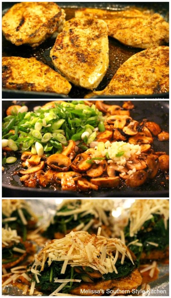 step-by-step preparation images chicken spinach and mushrooms in a pan