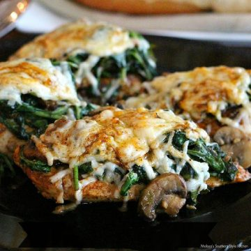 easy Smothered Asiago Chicken with Spinach and Mushrooms
