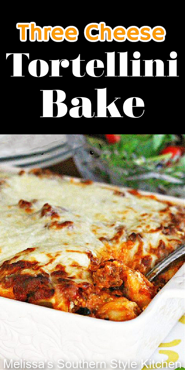 Turn refrigerated tortellini into this Three Cheese Tortellini Bake that's sure to turn your meal into an Italian inspired weekday feast #cheesetortellini #pastacasseroles #threecheesetortellinibake #italianfood #casseroles #pasta #dinner #easyrecipes