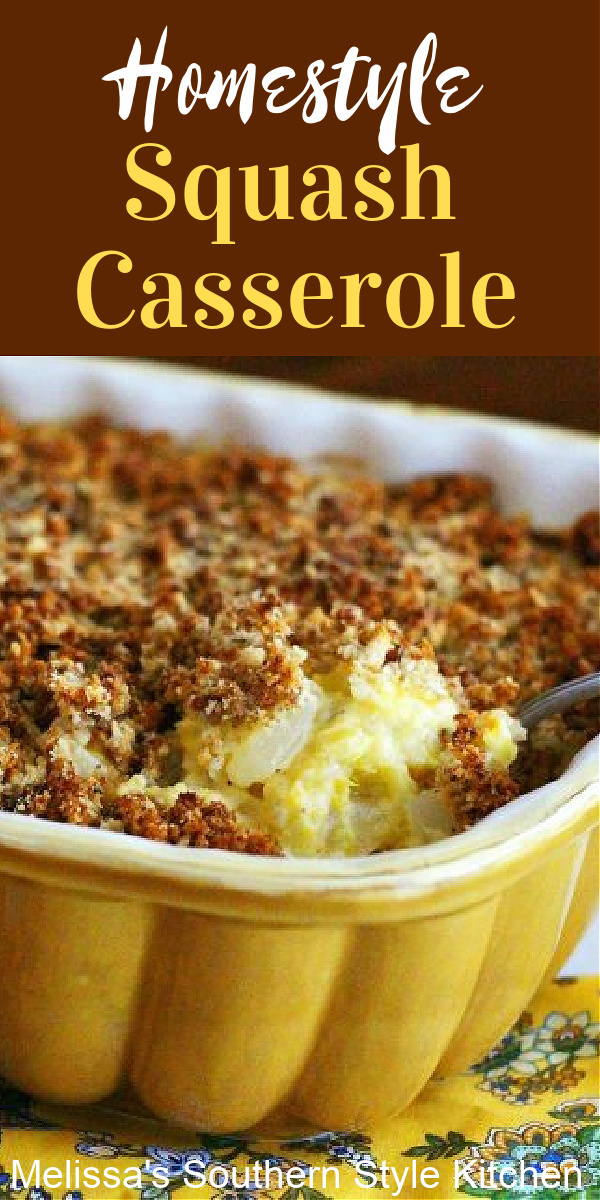 This Homestyle Squash Casserole is the ideal side for any occasion #squash #squashcasserole #summersquash #yellowsquash #casseroles #vegetarian #sidedishrecipes #dinnerideas #dinner #southernfood #southernrecipes #thanksgivingrecipes #fallbaking