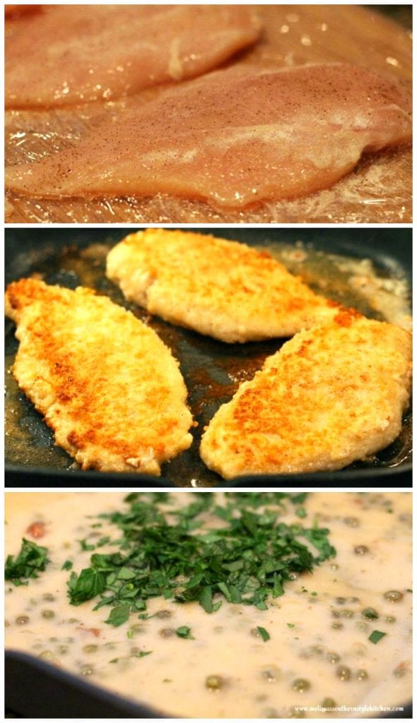 Step-by-step picture of preparation of Chicken Piccata