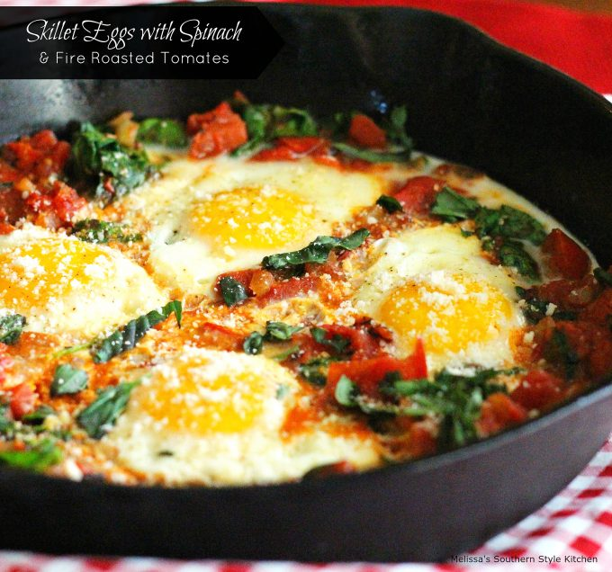 Skillet Eggs With Spinach And Fire Roasted Tomatoes