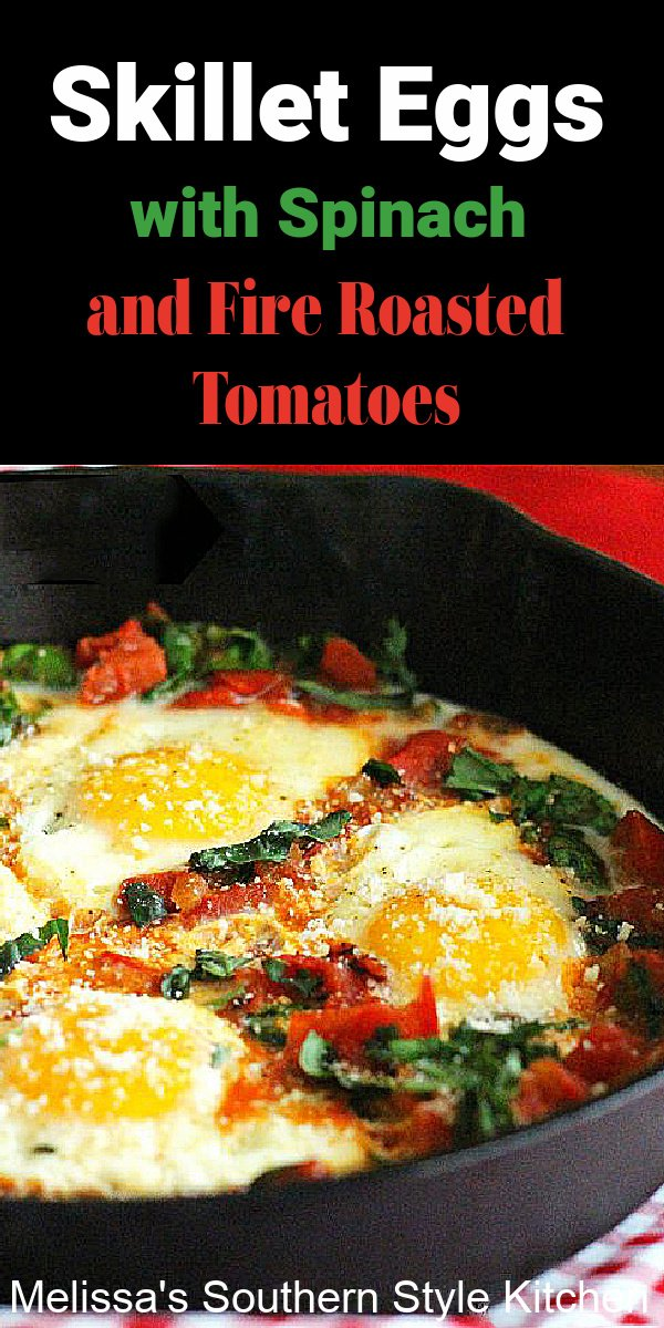 These Mediterranean inspired Skillet Eggs with Spinach and Fire Roasted Tomatoes make a tasty breakfast, brunch or breakfast-for-dinner meal #skilleteggs #eggsspinachtomatoes #fireroastedtomatoes #shashuka #mediterraneaneggs #easyeggrecipes #brunch #spinach #breakfast