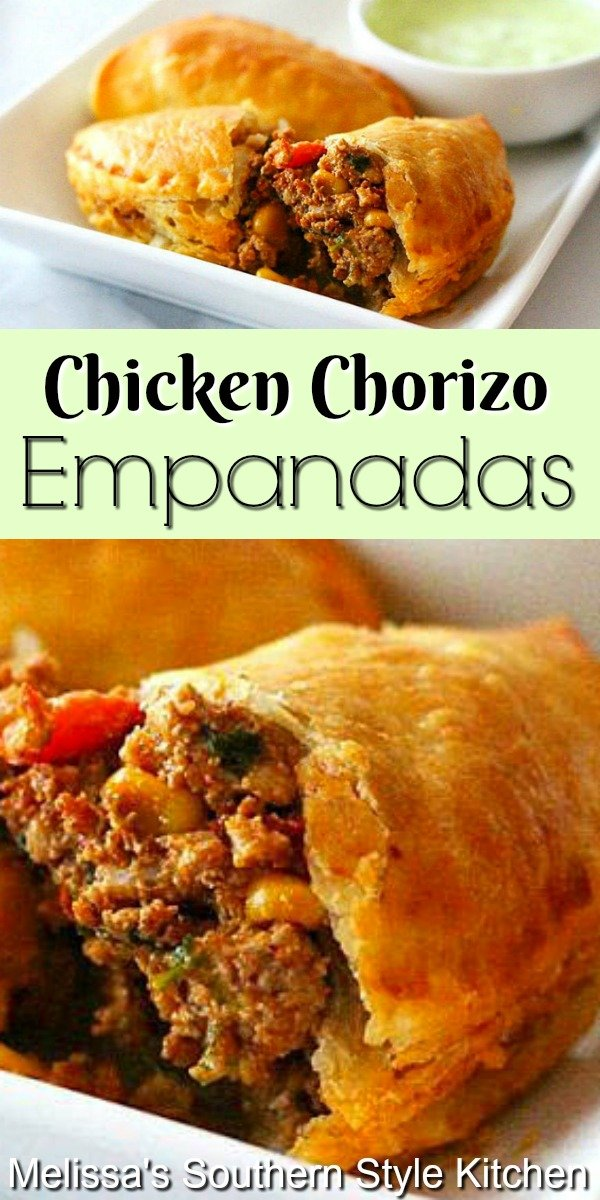 Whether it's gameday or holiday snacking these kicked-up Tex-Mex Chicken and Chorizo Empanadas will disappear in no time flat #empananadas #chicken #easychickenrecipes #texmex #puffpastry #chorizoempanadas #appetizers #gamedaysnacks #handpies #chickenchorizoempananadas