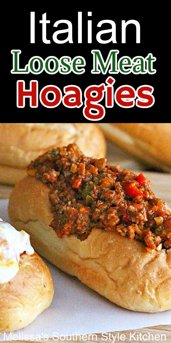 The family will come running for these Italian Loose Meat Hoagies served on warm hoagie rolls topped with gooey melted cheese #hoagies #easygroundbeefrecipes #italianhoagies #italiansubs #groundbeef #italiansloppyjoes #loosemeathoagies #sloppyjoesrecipes