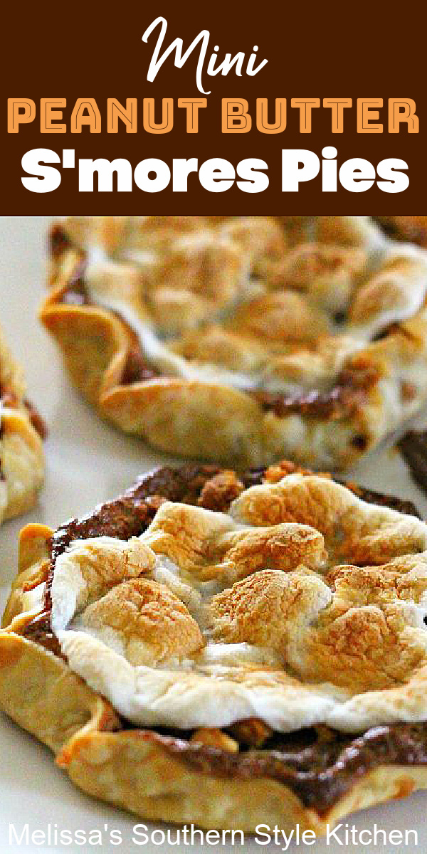 These ooey gooey single serving Mini Peanut Butter S'mores Pies are no campfire required s'mores made in the oven #smores #minismorespies #minipies #peanutbutterpies #desserts #dessertfoodrecipes #southernrecipes