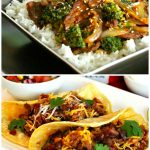 Sesame Beef And Broccoli And Chipotle BBQ Chicken Tacos