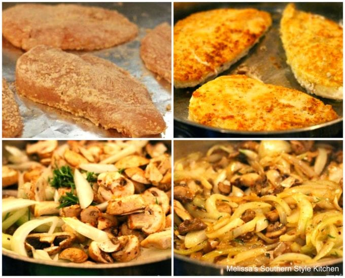 fried chicken breasts in a skillet with mushrooms and onion