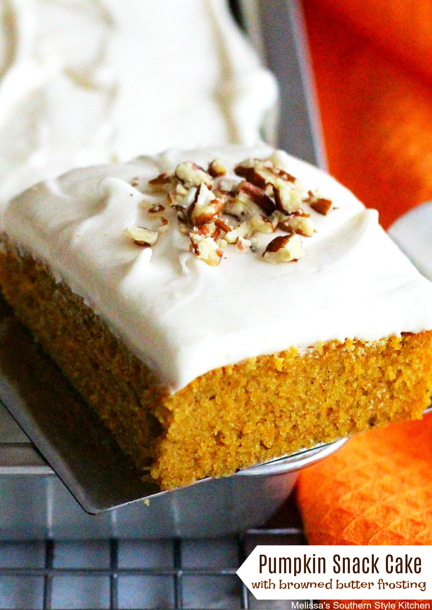Pumpkin Snack Cake With Browned Butter Frosting