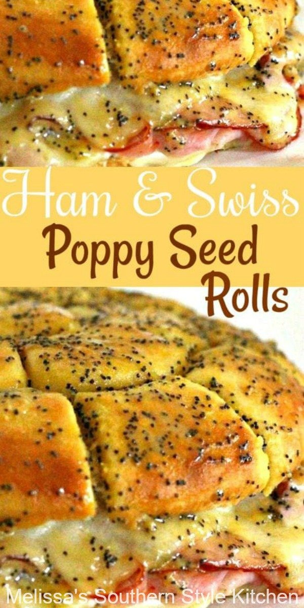 Kick start the party with these gooey pull apart Ham and Swiss Poppy Seed Rolls #hamrolls #hamandswiss #pullapartrolls #poppyseedrolls #hamrecipes #appetizers #sandwiches #sliders #hamandswisspoppyseedrolls #southernfood #holidayappetizers #southernrecipes
