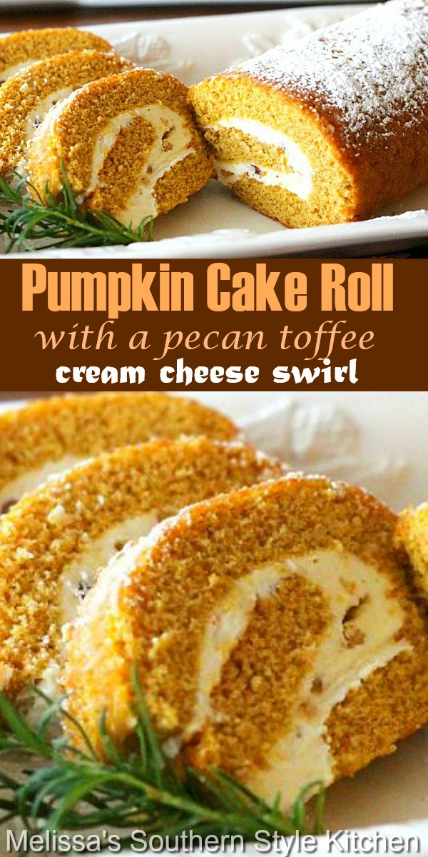This scrumptious Pumpkin Cake Roll has a delicious toffee and pecan surprise tucked away in the cream cheese swirl #pumpkinroll #pumpkincake #fallbaking #pumpkin #creamcheese #desserts #dessertfoodrecipes #thanksgiving #pecans #cakerecipes #cakes #falldesserts #holidaybaking #thanksgivingdesserts #southernrecipes #southernfood