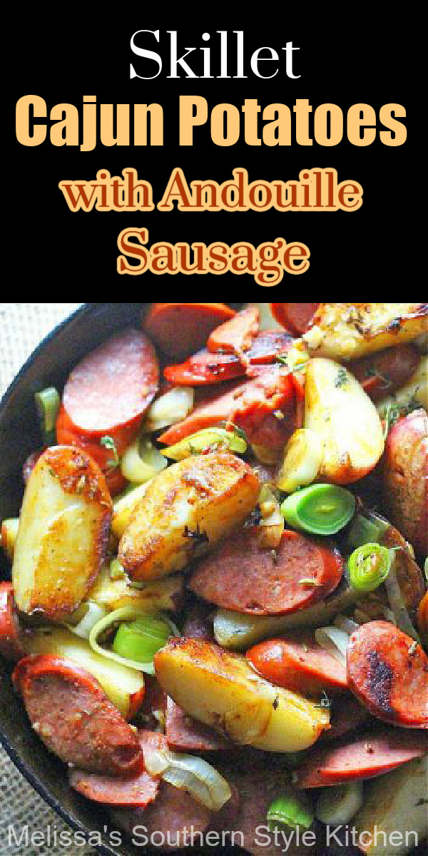 Serve these Skillet Cajun Potatoes with Andouille Sausage at any meal #skilletpotatoes #cajunpotatoes #potatohash #andouillesausage #andouillesausageandpotatoes #brunch #easyrecipes #potatoes