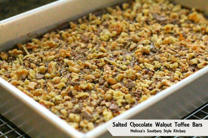 Baked Salted Chocolate Walnut Toffee Bars in a pan