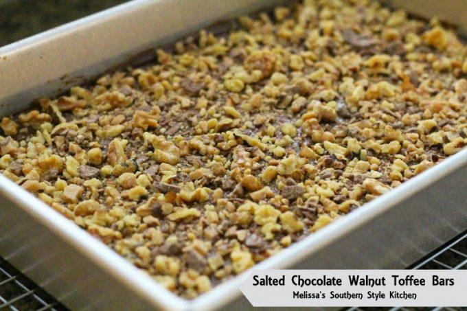 Salted Chocolate Walnut Toffee Bars - melissassouthernstylekitchen.com