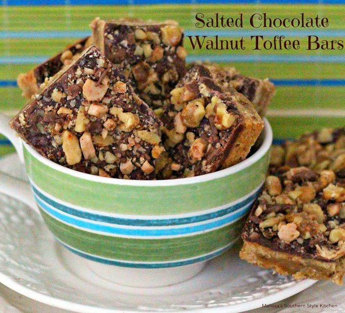 Toffee walnut bars in a cup