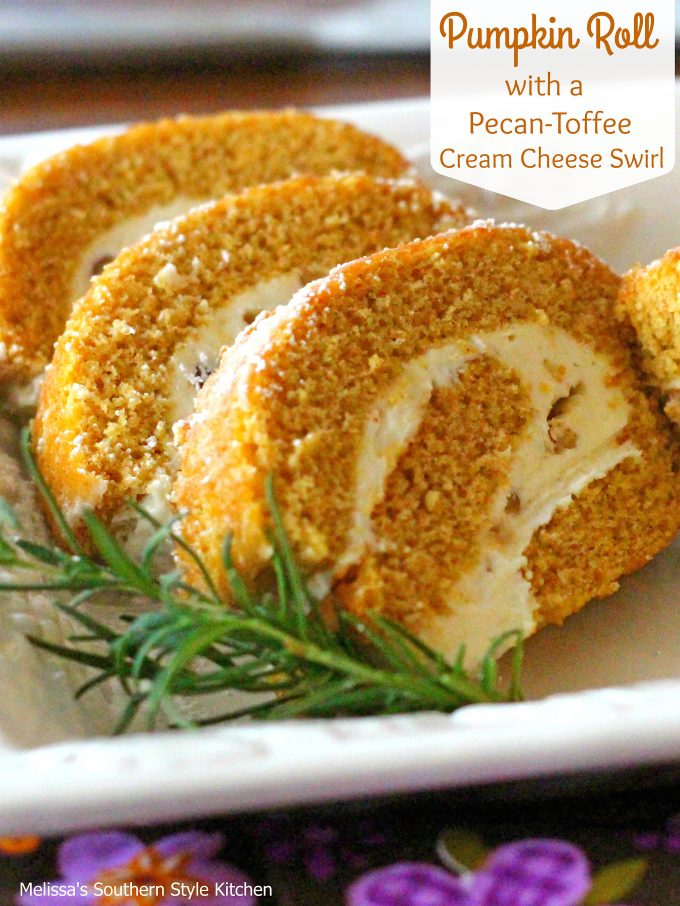 Pumpkin Roll With A Pecan Toffee Cream Cheese Swirl