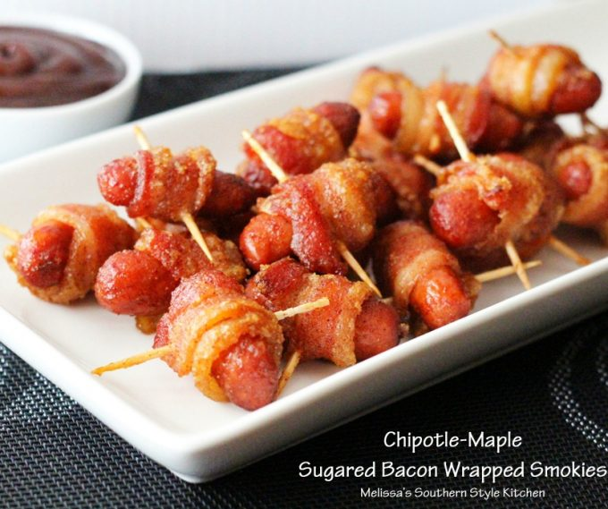 Bhg chipotle maple sugared bacon wrapped smokies Bhg s
