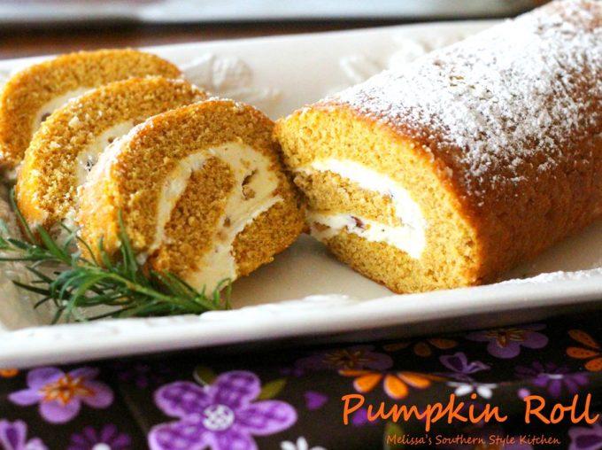 Baked pumpkin roll on a platter