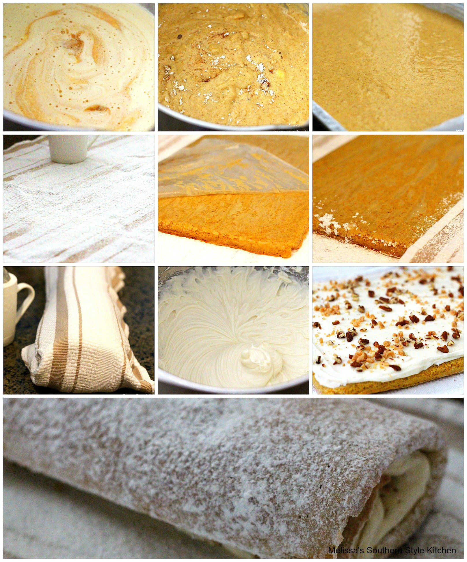 step-by=step images how to prepare a pumpkin cake roll