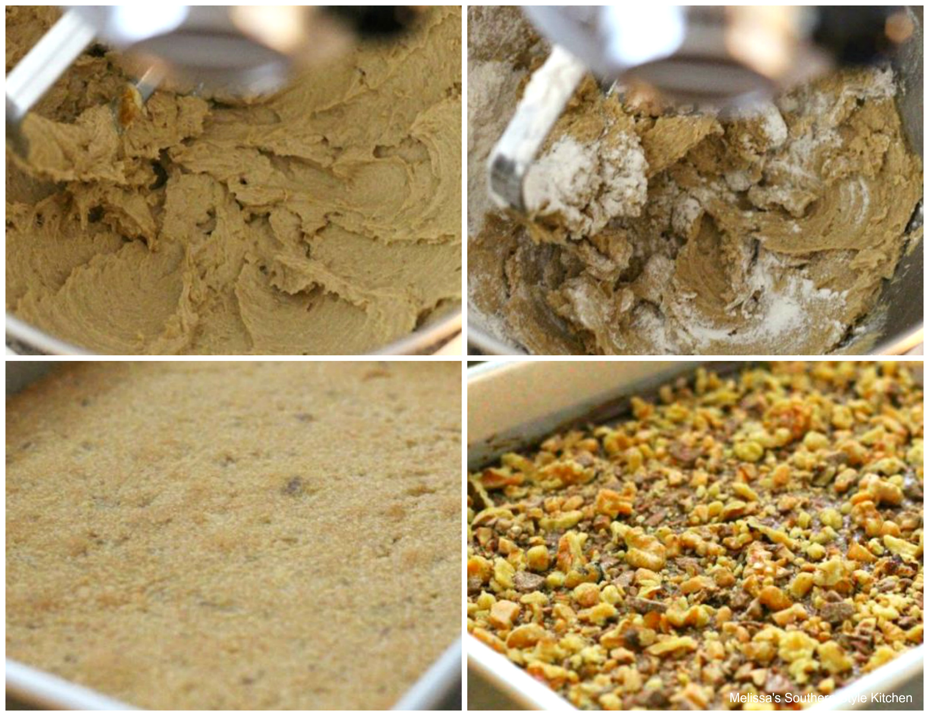 Step-by-step preparation images and ingredient to make Salted Chocolate Walnut Toffee Bars
