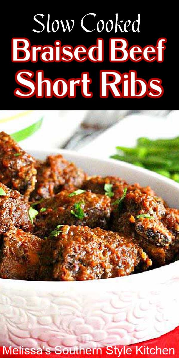 Slow Cooked Braised Beef Short Ribs #beefribs #braisedbeef #slowcookedribs #slowcookerrecipes #crockpotribs #crockpotrecipes #beef #dinner #dinnerideas #southernrecipes #southernfood #food #recipes #easyrecipes #melissassouthernstylekitchen