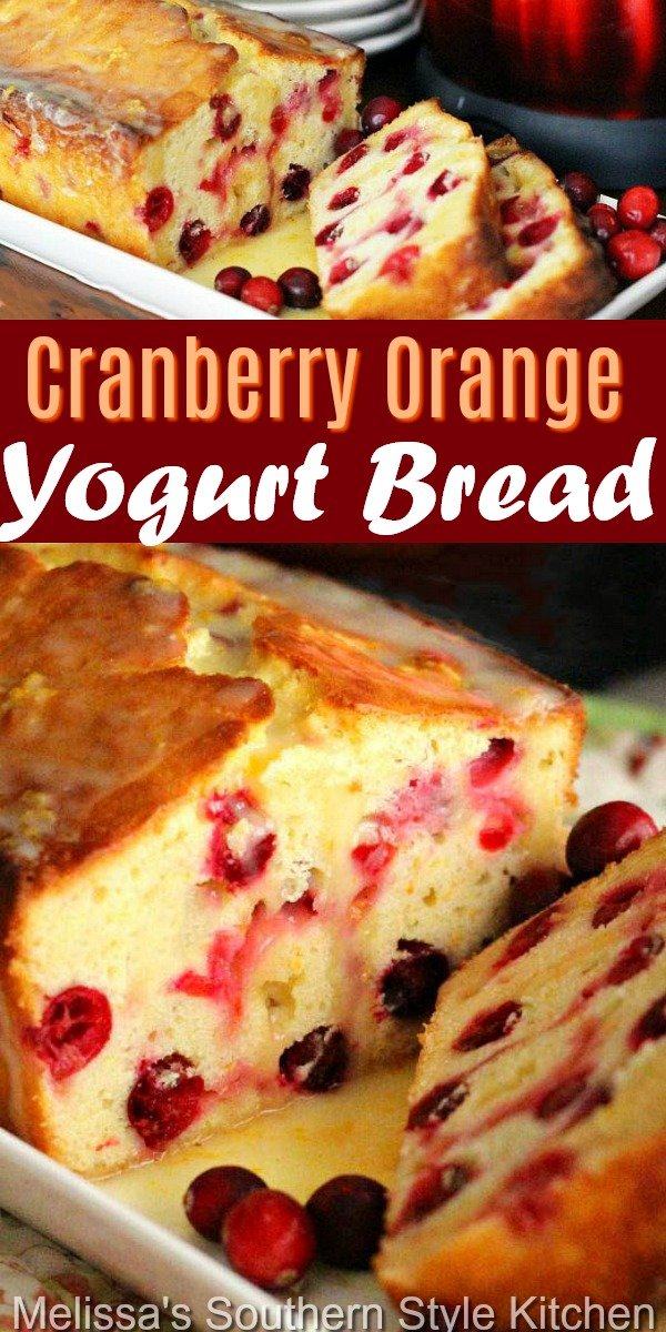 Freshly baked Cranberry Orange Yogurt Bread pairs perfectly with a cup of coffee or tea #cranberryorangebread #cranberries #cranberrybread #cranberrycakes #easybreadrecipes #yogurtbread #southernfood #southernrecipes #sweets #holidaybaking #holidays #christmasbrunch #orange #desserts #brunch #breakfast