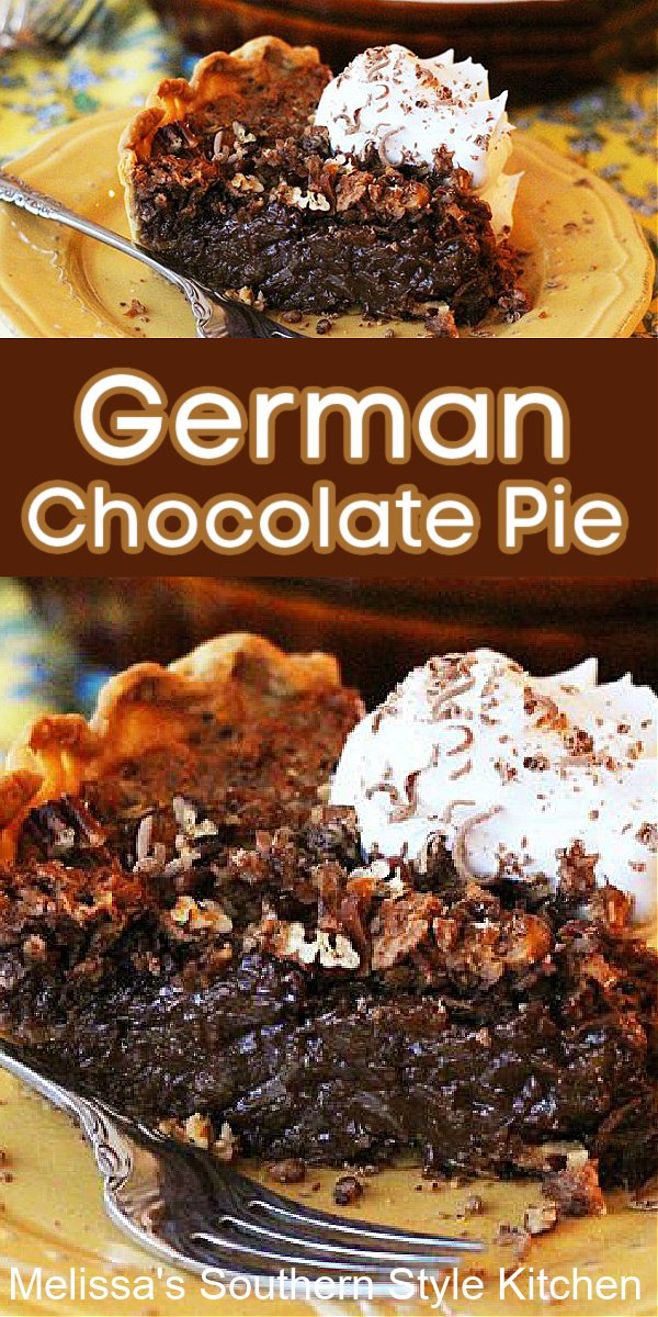 Prepare to fall in love with thisGerman Chocolate Pie filled with velvety chocolate, shredded coconut and pecans #germanchocolatepie #chocolatepierecipes #germanchocolate #pie #desserts #dessertfoodrecipes #southernrecipes