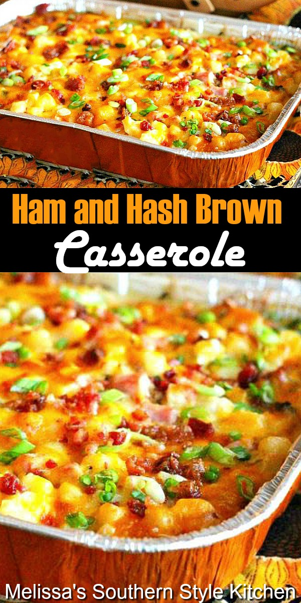 Turn leftover ham into a round two meal with this Ham and Hash Brown Casserole #ham #hamandhashbrowns #hashbrowncasserole #potatoes #potatocasserole #hashbrowns #holidayham #casserolerecipes #casseroles #southernfood #holidayrecipes #holidaybrunchrecipes #southernrecipes #bestpotatocasseroles