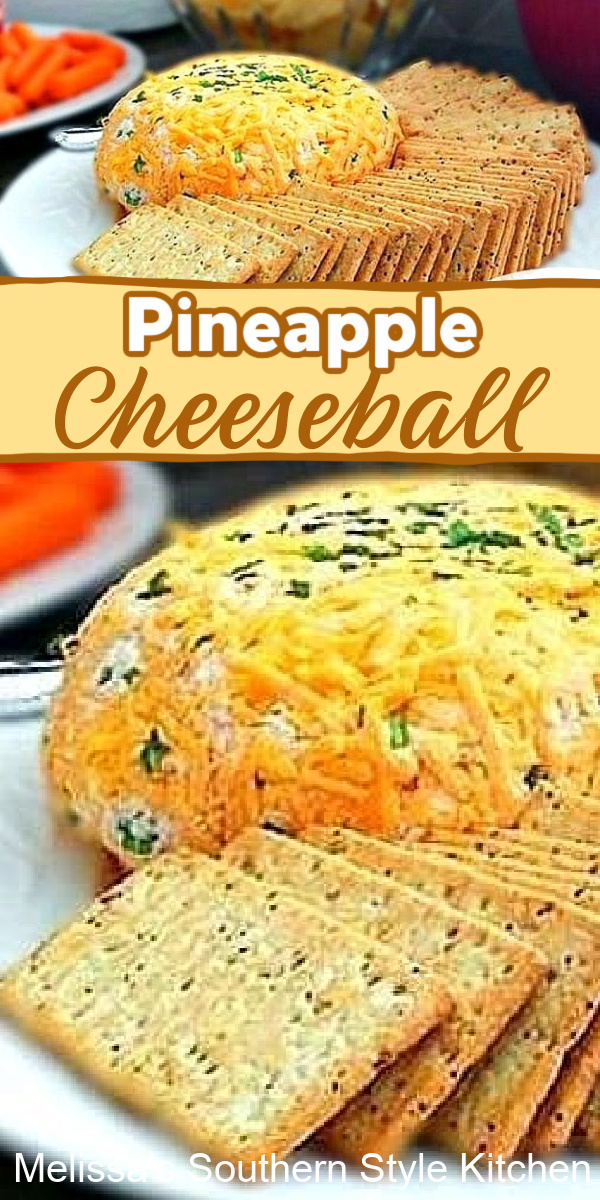 This easy Pineapple Cheeseball has that sweet and savory vibe that makes it impossible to resist #pineapplecheeseball #cheeballrecipes #pineapple #cheese #holidayappetizers #easycheeseball #cheeseballrecipe #southernfood #footballfood #southernrecipes