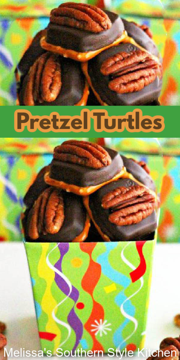 Make these fun Pretzel Turtles to satisfy your sweet and salty cravings #pretzelturtles #turtles #caramel #chocolate #pretzels #holidaysweets #holidaybaking #candy #ROLO #desserts #christmascandy #holidayrecipes #christmas #southerrecipes #southernfood #desserts #dessertfoodrecipes