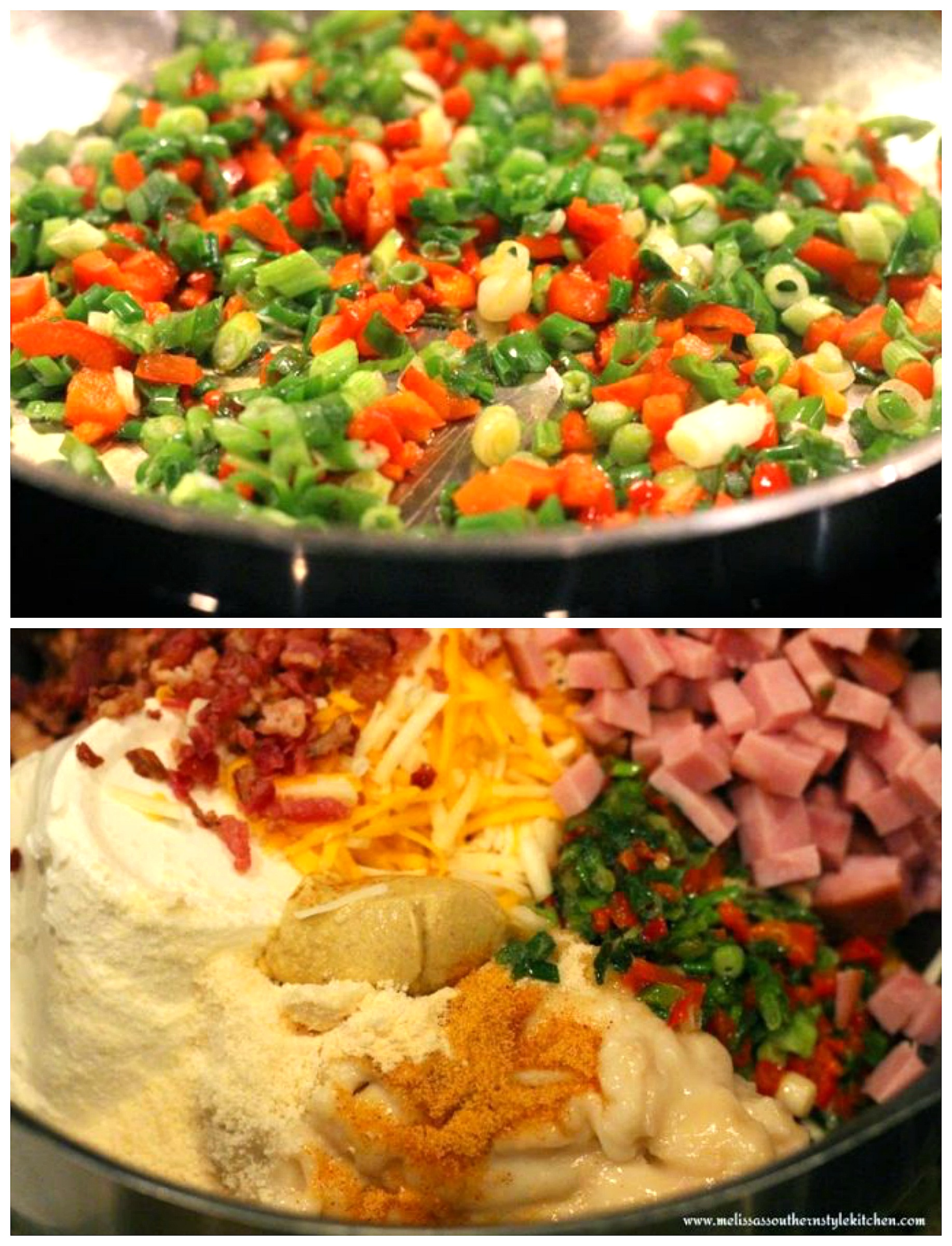 step-by-step preparation images hash browns, ham cooked vegetables in mixing bowl