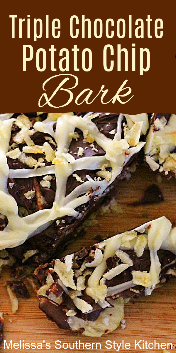 This Triple Chocolate Potato Chip Bark is a must-make for the sweet and salty fans in your life #potatochips #potatochipbark #candybarkrecipes #triplechocolate #candy #chocolatebark