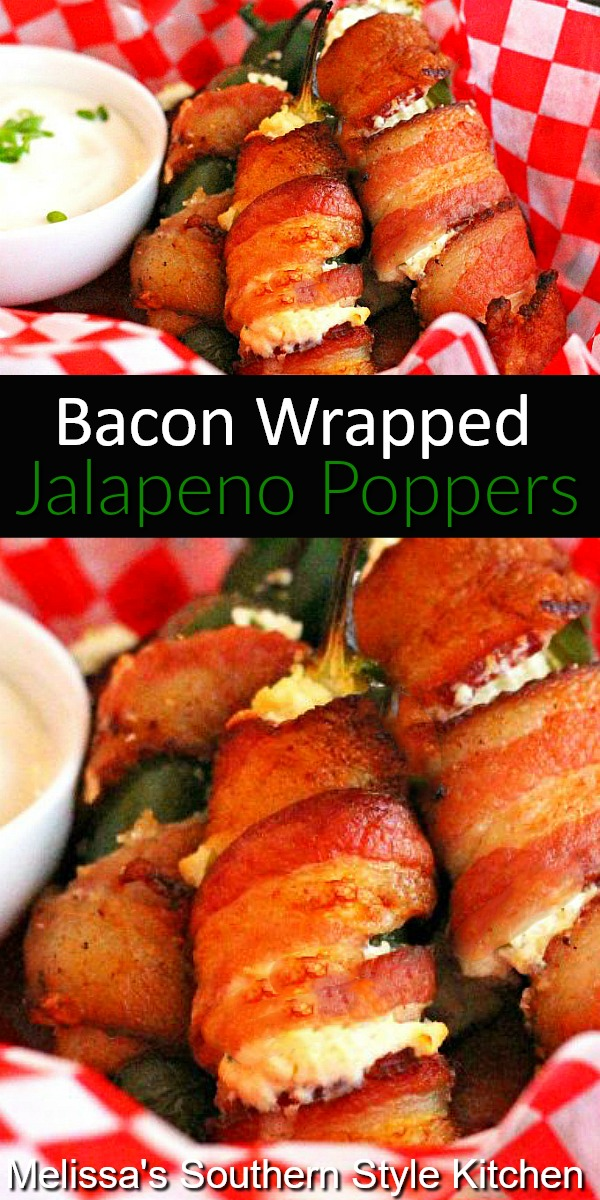 These easy Stuffed Bacon Wrapped Jalapeno Poppers are made in the oven for easy clean-up, too.#baconwrappedjalapenopoppers #jalapenopoppers #bacon #appetizers #baconwrappedjalapenos #gamedayfood #partyfood #southernfood #southernrecipes