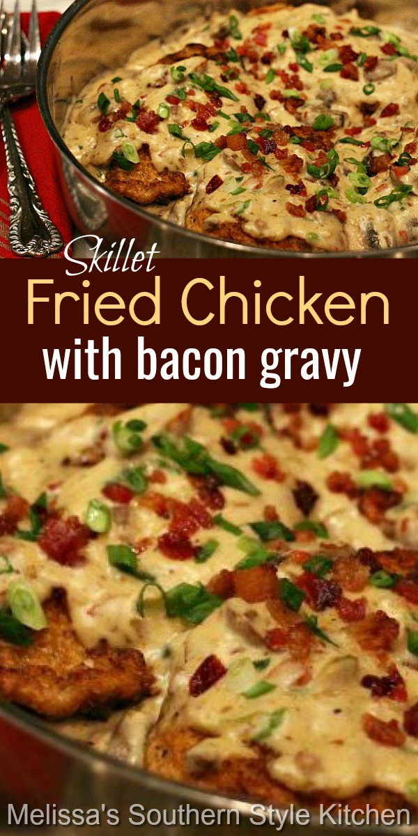 You can have this comforting skillet fried chicken on the table in no time flat #friedchicken #chickenandgravy #bacongravy #chickenrecipes #easychickenbreastrecipes #dinner #dinnerideas #southernfood #southernrecipes