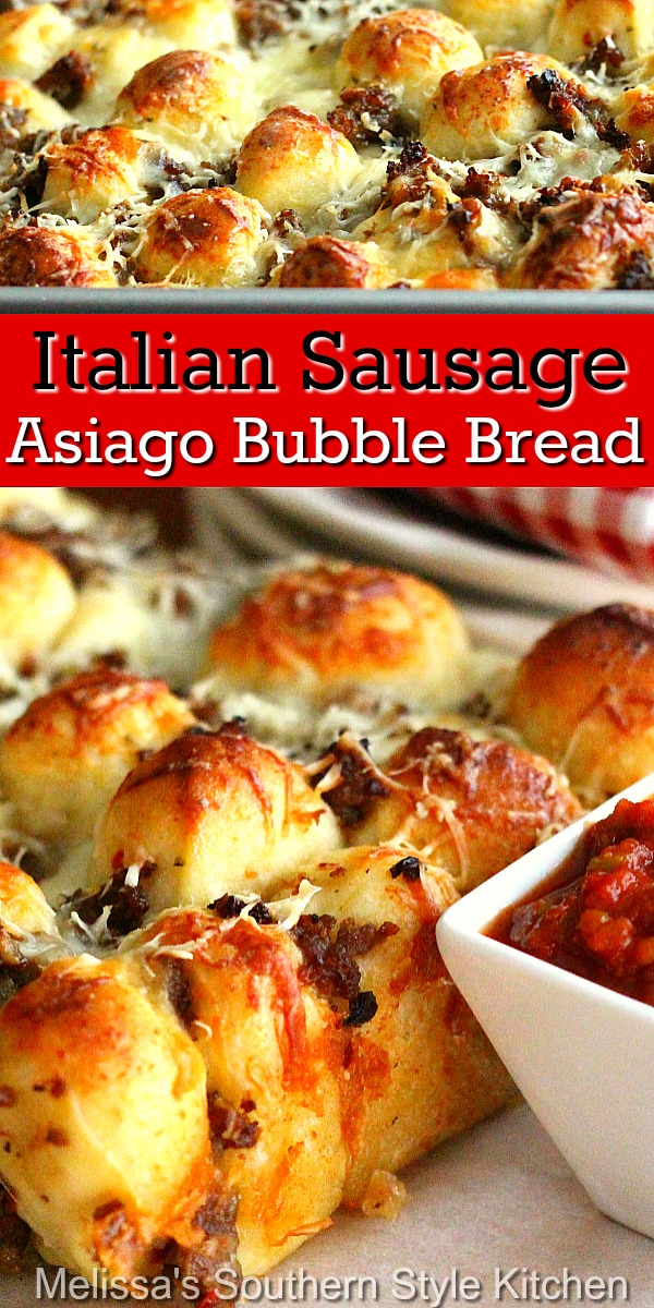 Pull apart and enjoy this flavorful Italian Sausage Asiago Bubble Bread #Italiansausagebread #asiagocheesebread #bubblebreadrecipes #pullapartItalianbread #italiansausage #breadrecipes #appetizers #southernfood #southernrecipes
