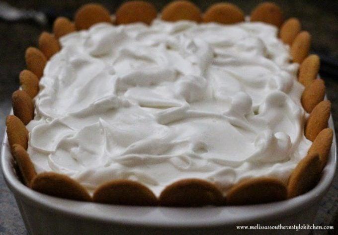 meringue topped banana pudding