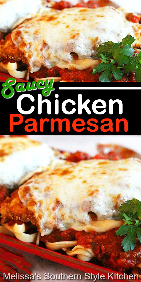 Saucy Chicken Parmesan is an Italian feast any night of the week #chickenparmesan #parmesanchicken #chickenbreastrecipes #italian #dinner #dinnerideas #food #recipes #chicken #southernrecipes #southernfood #30minutemeals